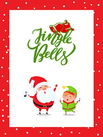 Jingle bells greeting card with Santa Claus and Elf singing carol songs. New Year cartoon character Father frost and dwarf little helper, music signs, vector