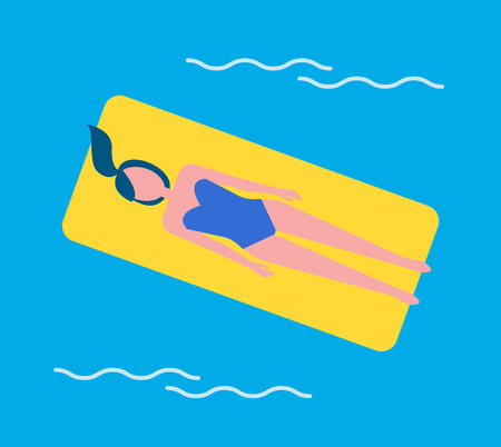 Swim woman floating on yellow mattress in swimming pool. Lady wearing swimwear relaxing and sunbathing lying on water surface. Vacation holiday vector Ilustrace