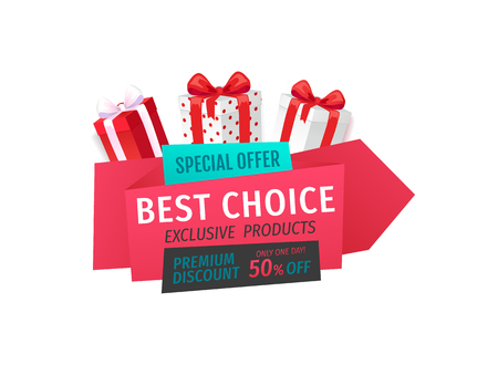 Special offer, best choice 50 percent off reduced price vector. Box with bow, gift exclusive product, only one day sale of shops. Premium presents Illusztráció