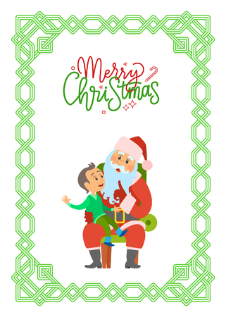 Merry Christmas postcard with Santa Claus and little boy. Young kid telling about his dreams to Saint Nicholas. Infant on knees making wishes vector