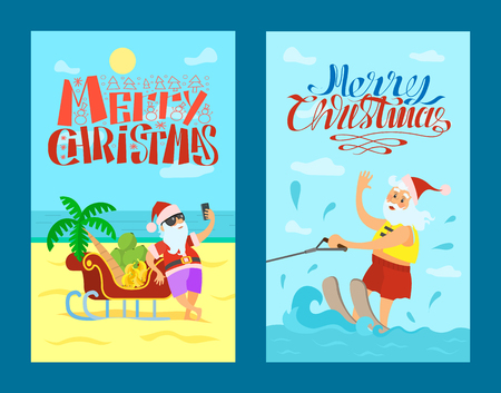 Merry Christmas, Santa Claus and sleigh full of bananas and grapes, palm tree. Vector New Year character riding on water skis, waving hand and greeting everyone Standard-Bild - 125812798