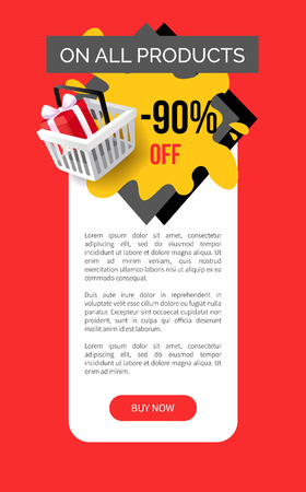 Sale on all products, 90 percent reduction, shop discounts vector web site template. Shopping basket with present box. Special prices sale and offers Illustration