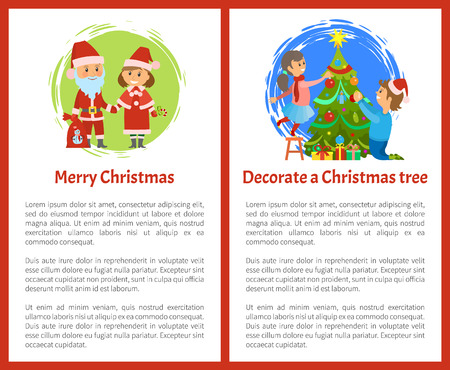 Merry Christmas and decorate Xmas tree posters, New year holidays. Santa Claus and Snow Maiden, children decorating spruce on noel eve, postcard with text