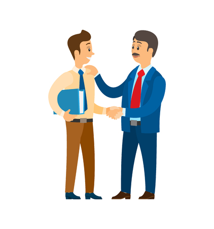 Boss praising worker at job, good company leader vector. Chief executive businessman talking to colleague, entrepreneur approving workmate with files Illustration