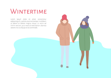 Wintertime couple spending time outdoors in winter season vector. Pair of man and woman holding hands and walking on ice, people in warm clothes put Illusztráció