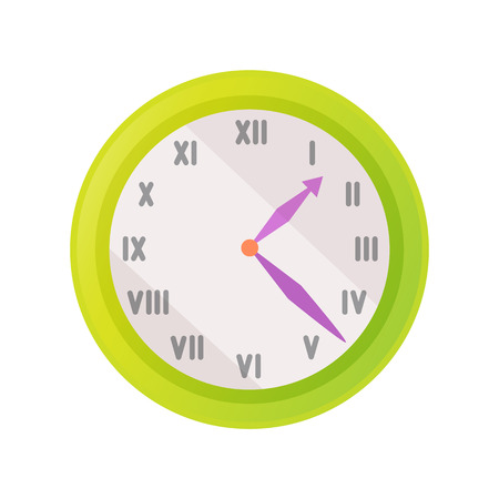 Clock icon showing exact time vector illustration isolated on white. Wall watch with roman numerals signs or rome figures, green time measurement device Illustration
