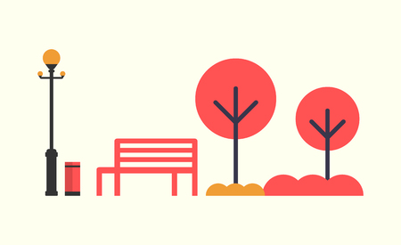 Autumn season empty bench, red color trees, orange grass, street lantern lamp and bin. Vector illustration of elements of fall park isolated on white Иллюстрация