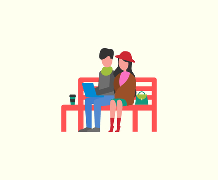 Couple sitting on wooden bench working on PC laptop vector. Freelancers with coffee in cup, leisure in of man and woman. Joyful people on freelance