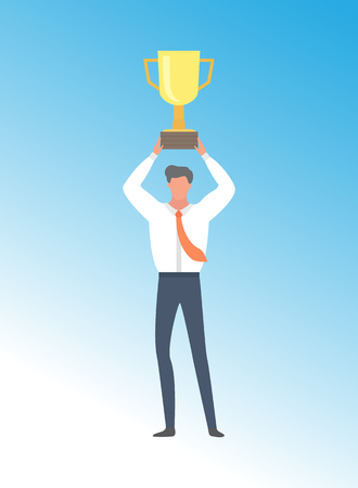 Businessman achieving business excellence, man win first prize golden trophy cup, cartoon character in white shirt. Leader got triumph, vector person