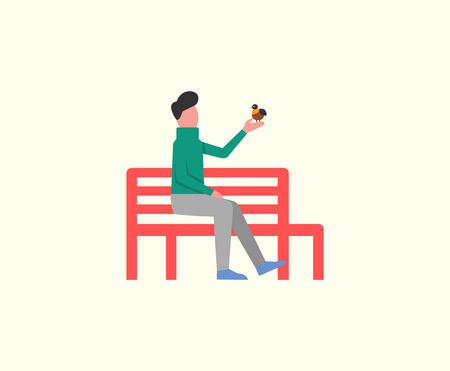 Man sitting on wooden bench playing with birdie isolated vector. Autumn relaxation seat, male having calm days with fauna. Person in peace flat style Ilustrace