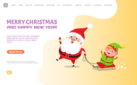 Merry Christmas and happy New Year, card with Santa Claus and Elf. Vector cartoon characters Father Frost and dwarf riding on sleigh and having fun