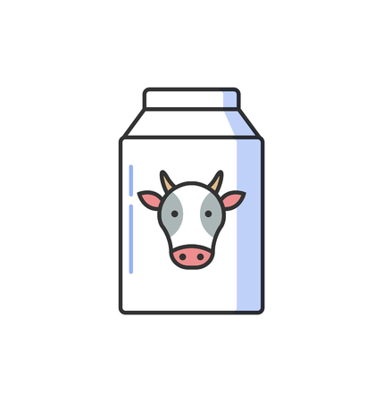 Bottle of milk icon vector with head of cow. Lactose symbol collection. Illustration for related information materials isolated on white background  イラスト・ベクター素材