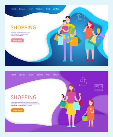 Shopping family carrying bags, returning home vector. Father and mother, kid sitting on daddys neck, daughter walking with lady, shoppers customers