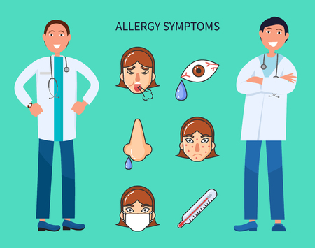 Allergy symptoms, patient sneezing and crying vector. Girl with high temperature and fever, doctors with prescription finding solution cure of illness