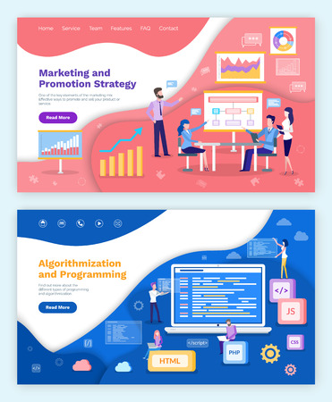 Marketing and promotion strategy, algorithmization and programming vector. Whiteboard with plan and charts , meeting of internet developers, coders