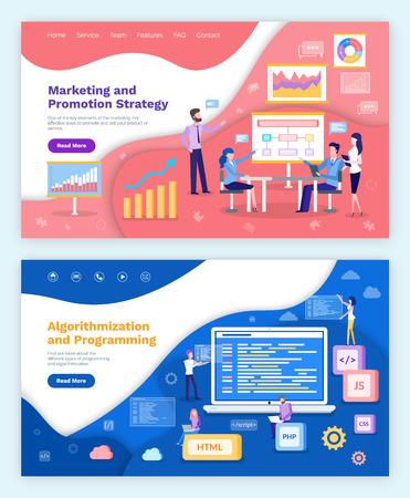 Strategia marketingowa i promocyjna, algorytmizacja i wektor programowania. Tablica z planem i wykresami, spotkanie programistów internetowych, koderów