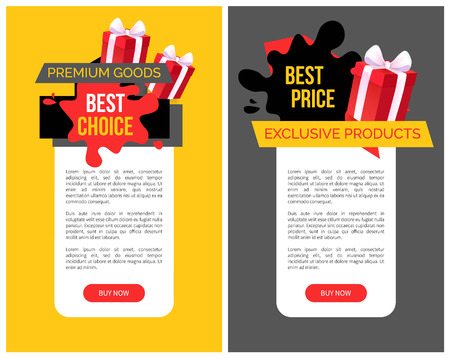 Sellout and special shop offer, price off vector web site templates. Presents decorated with tape and bows.Premium goods and best choice blot on banner