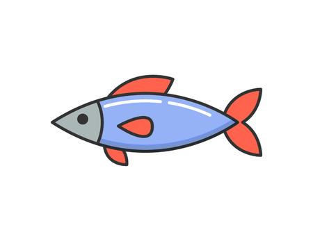 Allergy reaction to dish, raw cooked fish isolated icon. Seafood caused illness, symbol of hypersensitivity and organic product intolerance human body
