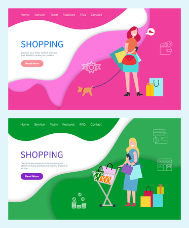 Shopping hobby of women, females spending weekends in mall vector. Lady with cart and packages, presents and gifts. Girl walking dog thinking of shoe