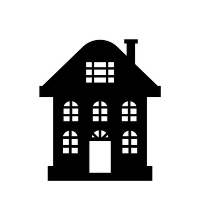Residential real estate building icon isolated on white. House monochrome silhouette, multi storey dwelling, windows and chimney, vector illustration