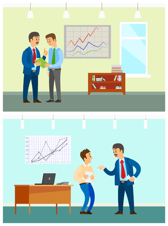 Working task and bad job, boss and employee. List of orders and wrong document, office interior, statistical graphics on wall vector illustrations. Illustration