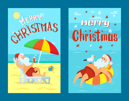 Merry Christmas, Santa Claus on life buoy in water. Father frost in red hat drinking refreshing cocktail at summertime, lying on sunbed under color umbrella vector