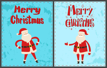 Winter holidays greeting card with Santa Claus in red costume dancing and wishing Merry Christmas. New Year cartoon character on blue background, vector