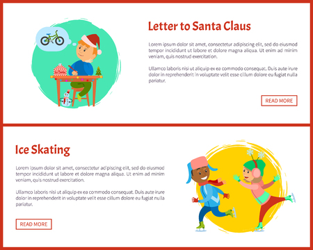 Letter to Santa and ice skating web posters, text sample. Christmas holidays, boy thinking of wish to make, kid writing mail dreaming of bicycle, skaters Standard-Bild - 125812843