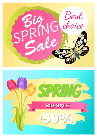Big spring sale best choice discount 50 off promo stickers with exotic springtime butterfly and bouquet of tulip flowers vector set advert vouchers
