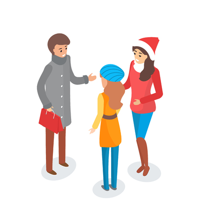 Man and woman discussing topic outdoors winter season vector. People friends wearing warm clothes, woman with Santa Claus hat on head, talking person Illustration