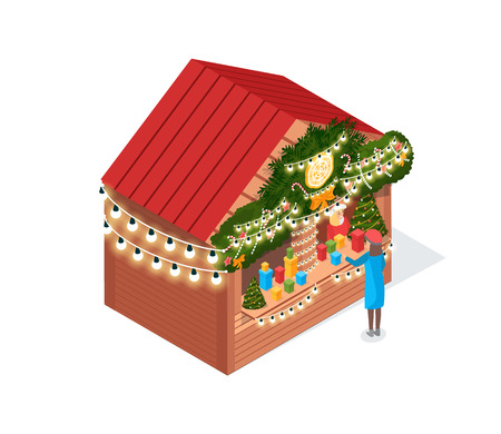 Woman standing and choosing boxes in blue coat. Holiday fair house decorated needles and garlands on roof. Seller in Sanat wear near trees vector isolated