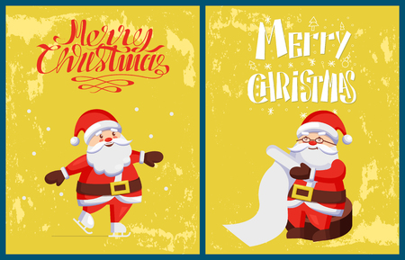 Merry Christmas, Santa Claus skating on skate rink and reading wish list from kids. Saint Nicholas and winter sport activities, vector character in cartoon style