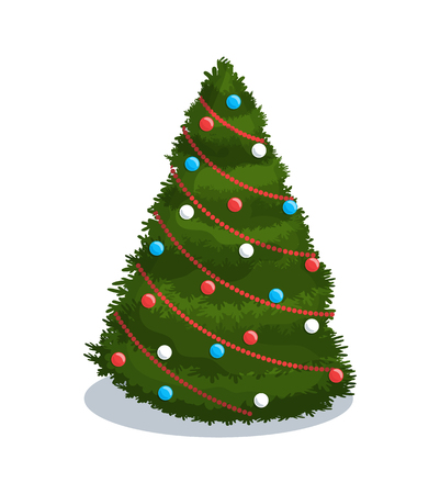 Christmas-tree decoration with colorful balls and red chaplet. Single fir-tree in flat style isolated on white. Holiday 3d greeting papercard vector