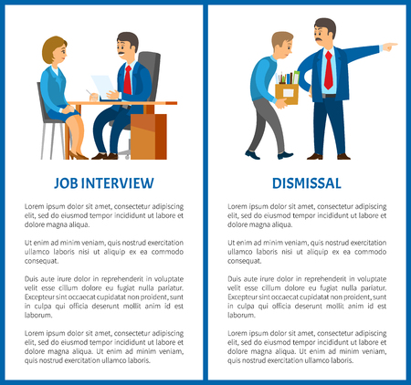 Job interview and dismissal of worker vector poster, text sample. Boss in suit and mustaches dismissing employee with box. Executive manager and bad executor Ilustração