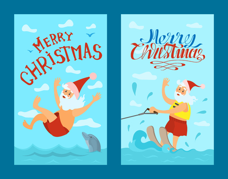Merry Christmas, Santa Claus riding on water skies in red hat, jumping in water with dolphin. New year character on summer holidays vector. Water splashes, active way of life