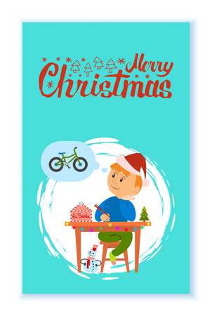 Merry Christmas holidays preparation, letter to Santa Claus vector in brush frame. Boy thinking of wish to make, kid writing mail dreaming of new bicycle Standard-Bild - 125812855