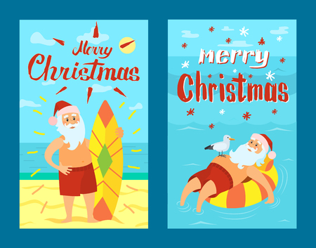 Merry Christmas Santa Claus and surfing board, Xmas character on summer rest. Vector Saint Nicholas surfer in tropical country, man on lifebuoy, vector Illustration