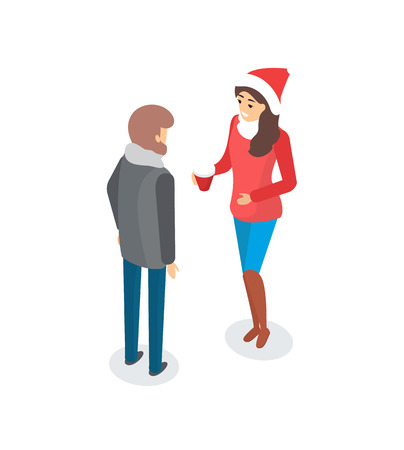 Man and woman talking outdoors, couple outside discussing topic vector. Male and female wearing warm winter clothes, lady in Santa Claus hat with cup Illustration