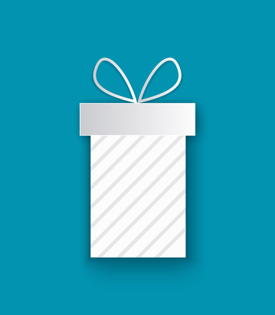 Wrapped Xmas present cut out icon, isolated on blue. Vector package box, stripes decorations, surprise on Christmas and New Year, topped by bow