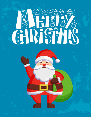 Merry Christmas greeting card Father Frost ready to give surprises with green bag full of presents. Santa Claus congratulates everyone with New Year