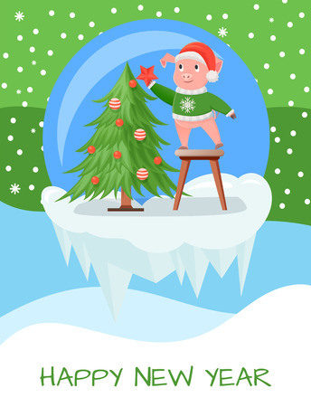 New Year greeting card, pigs in knitted sweaters decorating Christmas tree. Piglets in hat or deer horns cartoon vector on icy cliff in ball, snowy landscape