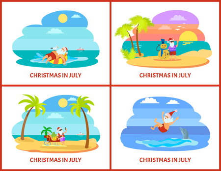 Santa laying on rubber ring with seagull and swimming with dolphin. Claus standing with snowman and sleigh with fruit vector. Christmas vacation in July