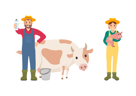 Farmer with pig and cow set vector. Isolated icons with farmers and mammals, giving pork meat and milk beverages. Breeding people caring for animals 일러스트