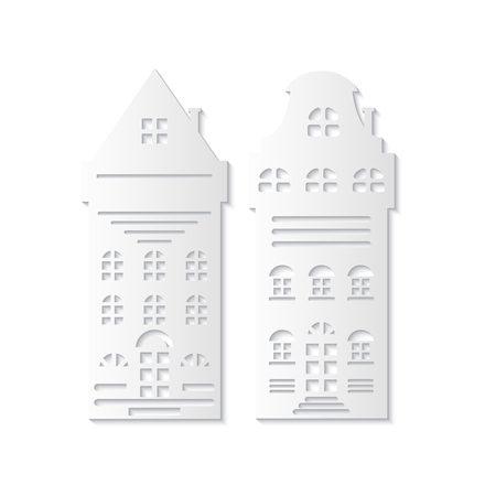 Christmas paper cut with two white holiday living residential. Exits and floors, roofs with windows and chimney. Simple handmade decoration vector