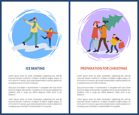 Preparation for Christmas holidays ice skating text posters vector. Mother and father carrying pine tree, evergreen fir, mom holding hand of daughter