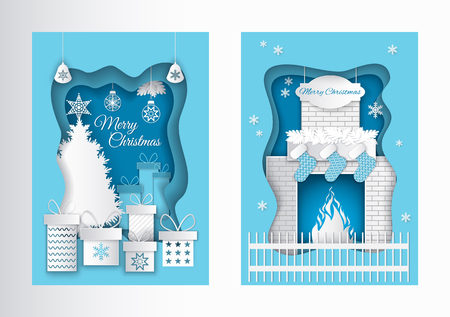 Merry Christmas postcard paper cut pine tree topped by star, flat style presents gift boxes with snowflakes. Fireplace, burning fire, Santa socks vector