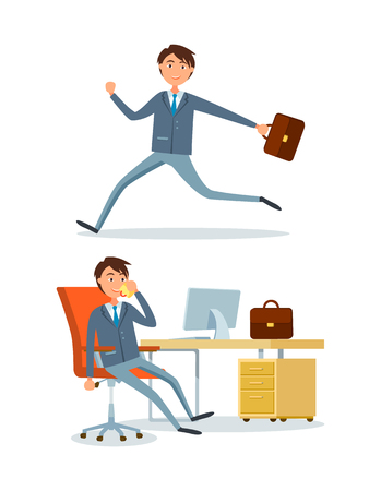Businessman running to work, person in office talking with client partner vector. Manager with briefcase rushing to workplace. Executive chief sitting