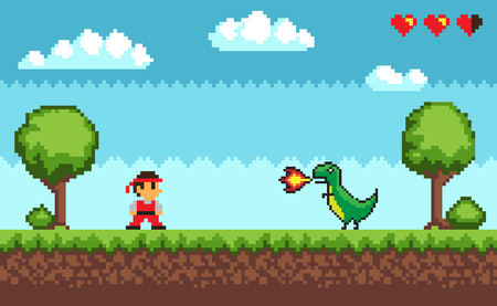 Standing man near tree and bush on grass near big dragon with fire. Colorful level of pixel game on outdoor with symbols hearts and clouds vector 일러스트