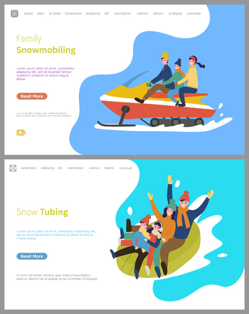 Snow tubing winter activities for family people vector. Snowmobiling, snowmobile with father mother and child, slopes downhill, wintertime season