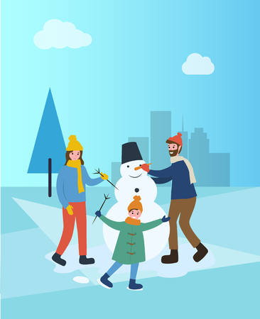 Family building snowman in winter city town park vector. People spending time outdoors, pine and snow, sculpting of snowballs bucket and carrot nose Illustration